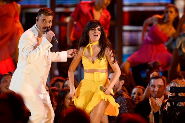LOS ANGELES, CALIFORNIA - FEBRUARY 10: (L-R) Ricky Martin and Camila Cabello perform onstage during the 61st Annual GRAMMY Awards at Staples Center on February 10, 2019 in Los Angeles, California. (Photo by Kevork Djansezian/Getty Images)