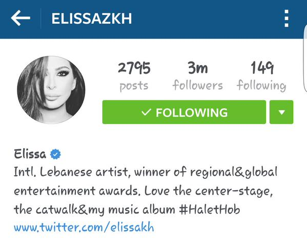 Music Nation - Elissa - Instagram - 3 Million Followers